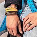 Double Wrap Yellow Gold Leather Bracelet Stark Bracelet image
