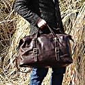 Large Genuine Leather Holdall In Dark Brown image