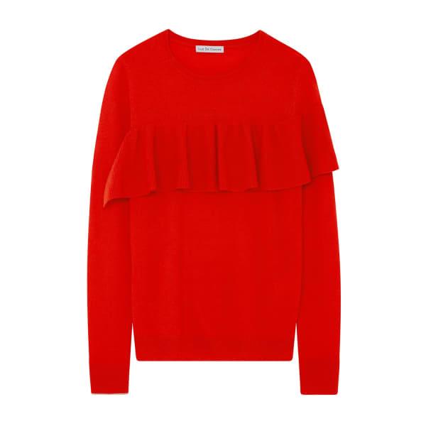 ILLE DE COCOS Merino Ruffle Sweater Tomato Red & Gold