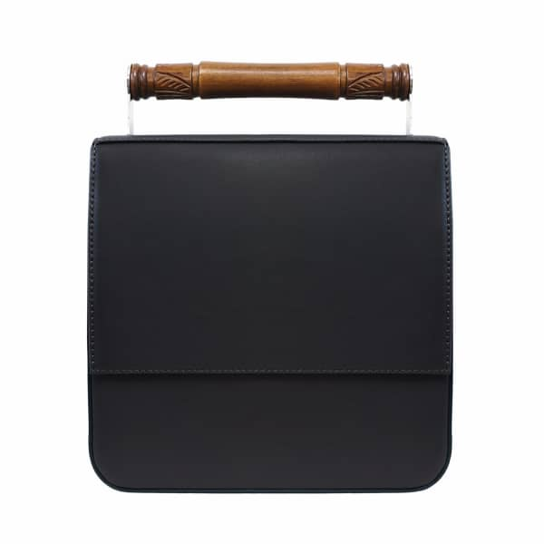 AEVHA LONDON Helve Crossbody in Black with Wooden Handle