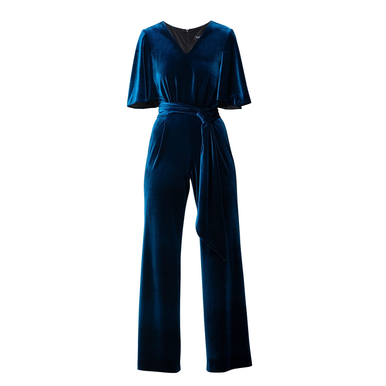 ef740b33e3fcb Layla Velvet Jumpsuit With Bell Sleeves & Sash In Royal Blue ...