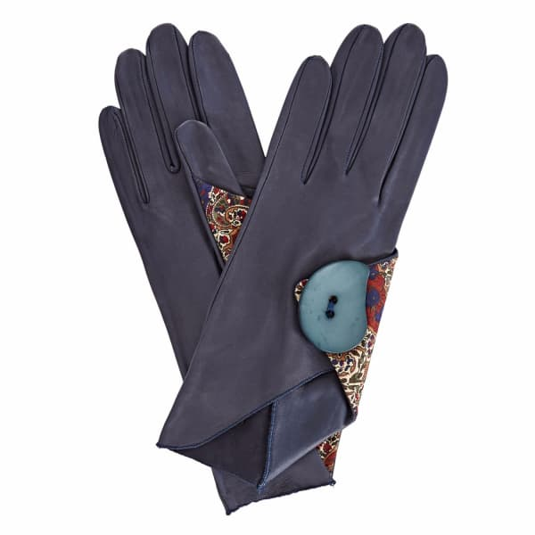 GIZELLE RENEE Padma Navy Leather Gloves With BM Liberty Tana Lawn
