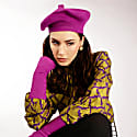 Purple Silk Cashmere Beret & Fingerless Gloves Set image