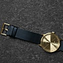 Leff Amsterdam T40 Watch With Brass Coloured Case & Black Leather Strap image
