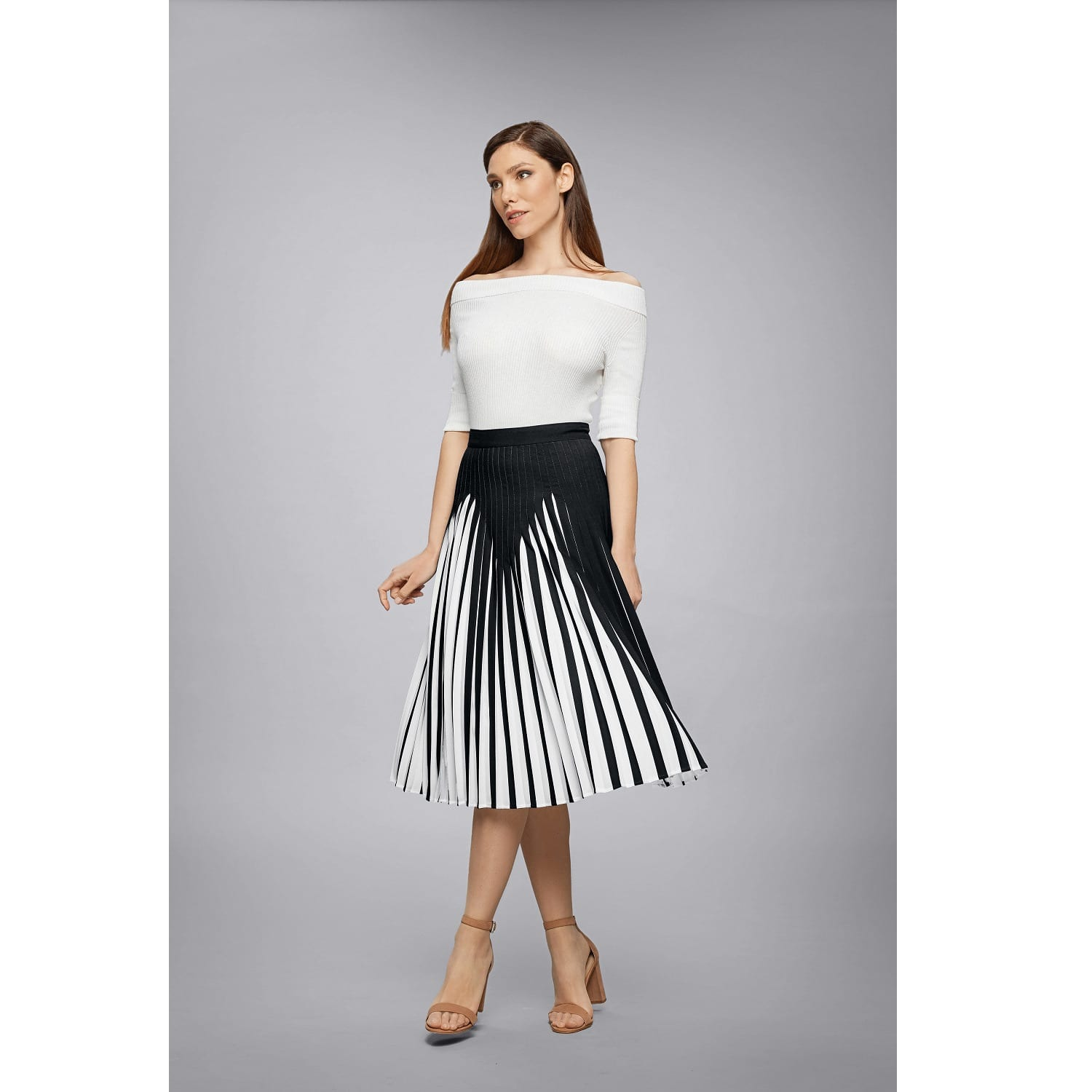 4487de81609cc0 Penelope Black Pleated Two-Tone Midi Skirt | Rumour London | Wolf ...
