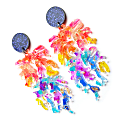Rainbow Coral Glitter Resin Acrylic Statement Earrings image
