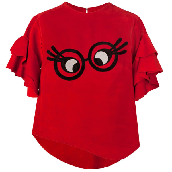 SIOBHAN MOLLOY Lashes Red Pig Suede Caddy Top