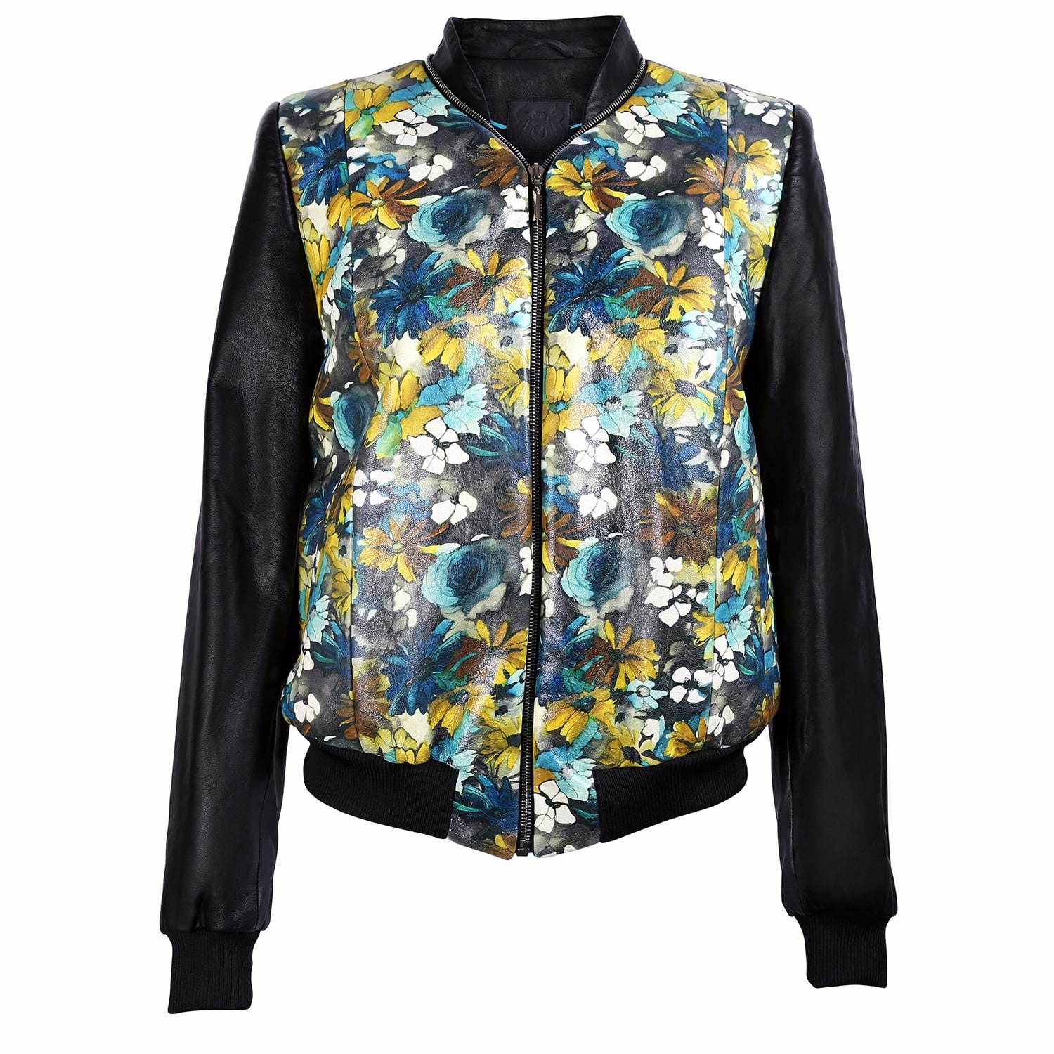 Vols & Original - Floral Print Black Leather Bomber Jacket