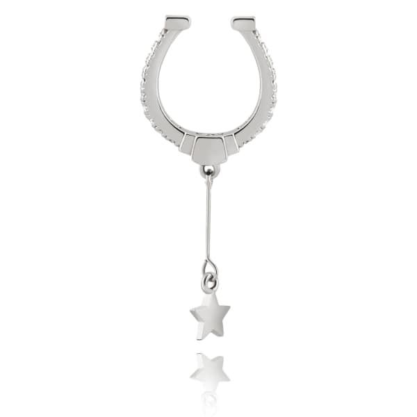 ASTRID & MIYU Horseshoe Ear Cuff In Silver