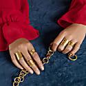 Nudo Gold Long Textured Ring (Adjustable) image