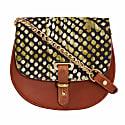 Mini Victoria Amaka Green & Black African Print Full Grain Tan Leather Crossbody Saddle Bag With Gold Chain image