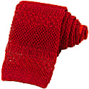 Dark Red Solid Textured Striped Linen Knitted Tie image