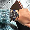 Amalfi Petite Vegan Leather Watch Silver, Black & Marine Blue image