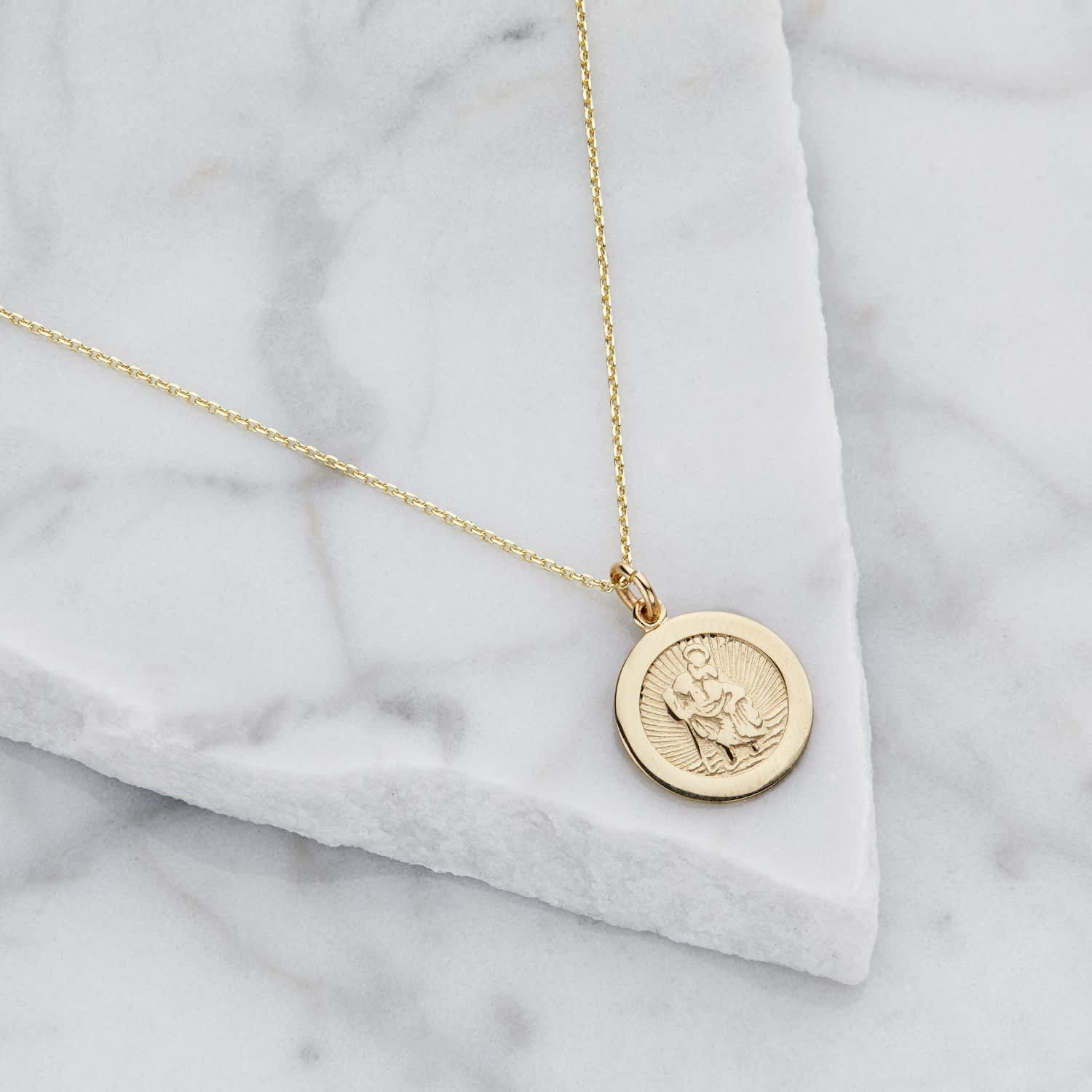 74958edd0 Small round Solid Gold St Christopher Pendant Necklace | Lily & Roo ...