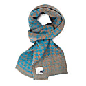 Luxurious Knitted Cotton Scarf With Graphical Pattern In Classical Colours Elements - Teal image