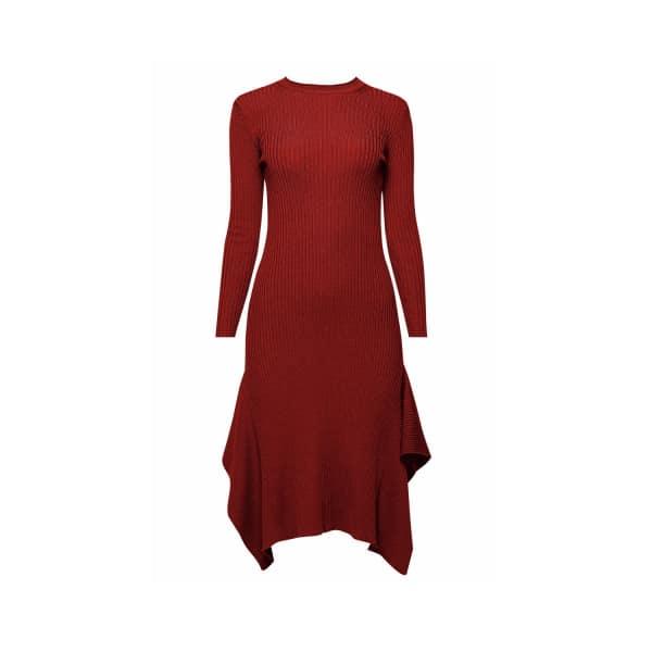 RUMOUR LONDON Alexa Asymmetric Ribbed Wool Midi Dress In Burgundy in Red