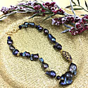 Deep Purple Baroque Freshwater Pearls With Rhinestones Short Necklace image
