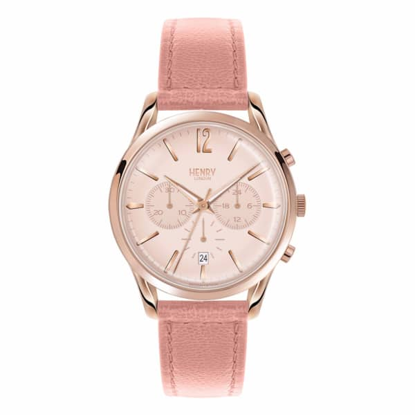 HENRY LONDON Ladies 39Mm Shoreditch Chronograph Leather Watch