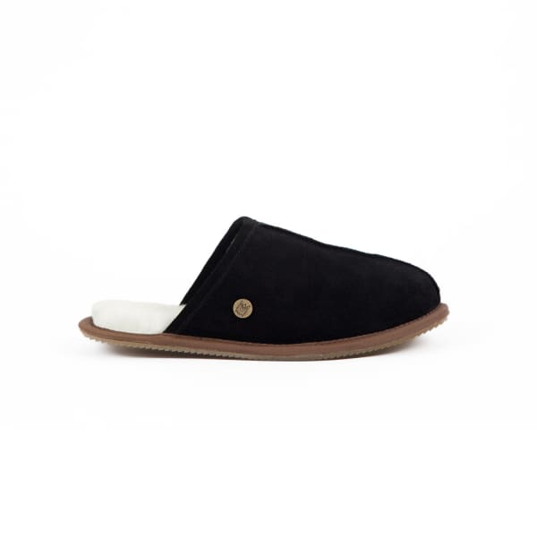 MAHI LEATHER Classic Men'S Black Sheepskin Slippers