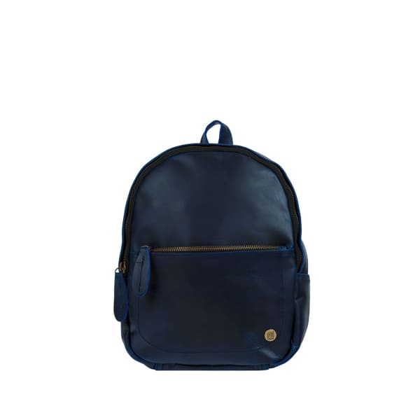 MAHI LEATHER Mini Backpack In Navy Full Grain Leather in Blue