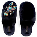 Closed Toe Black Fluffy Slippers With Blue Crystal Lobster image