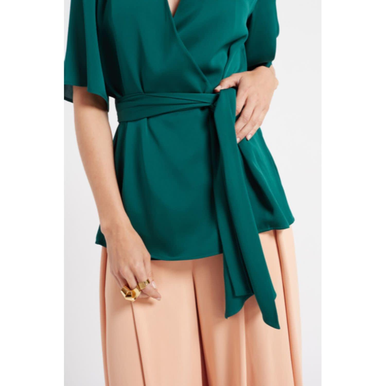 5073b40b57f427 Sonnet Green Belted Silk Wrap Top | WtR | Wolf & Badger