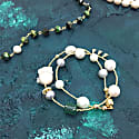 Baroque & Freshwater Pearls With Malachite Double Wrapped Bracelet image