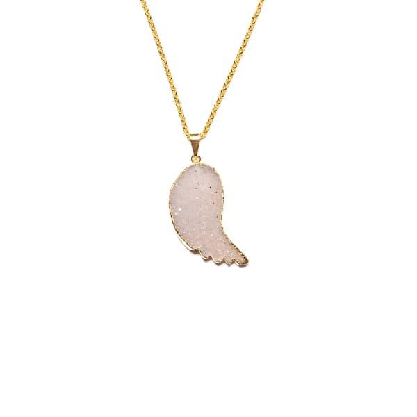 TIANA JEWEL Druzy Wing Angel Charm Necklace