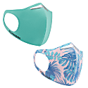 2 pack Washable Face-Mask Bacteria Resistant Aqua Floral image