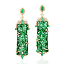 18Kt Gold Natural Diamond Carving Jade Dangle Earrings Emerald Jewelry image