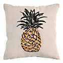 Pineapple Embroidered Small Square Cushion Old Gold image