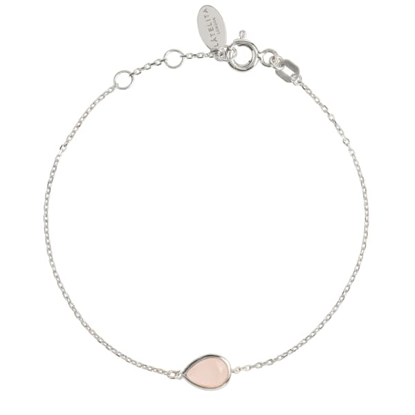 Pisa Mini Teardrop Bracelet Silver Rose Quartz