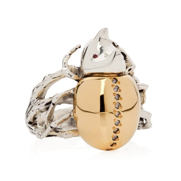 YASMIN EVERLEY JEWELLERY Gilded Rhino Beetle Ring
