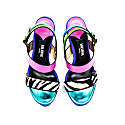 Sporty Wedge Sandals Zebra Detailing Green image