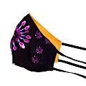 Two-Sided Black Daisy & Orange Silk Face Mask image