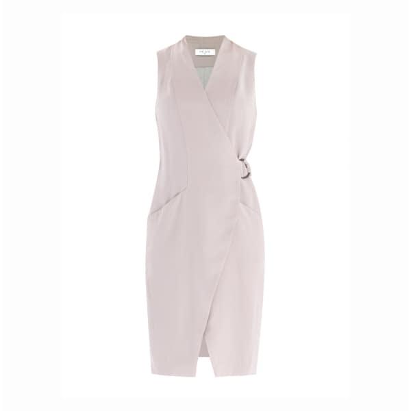 Collarless Tuxedo Wrap Dress With Side Belt In Light Grey