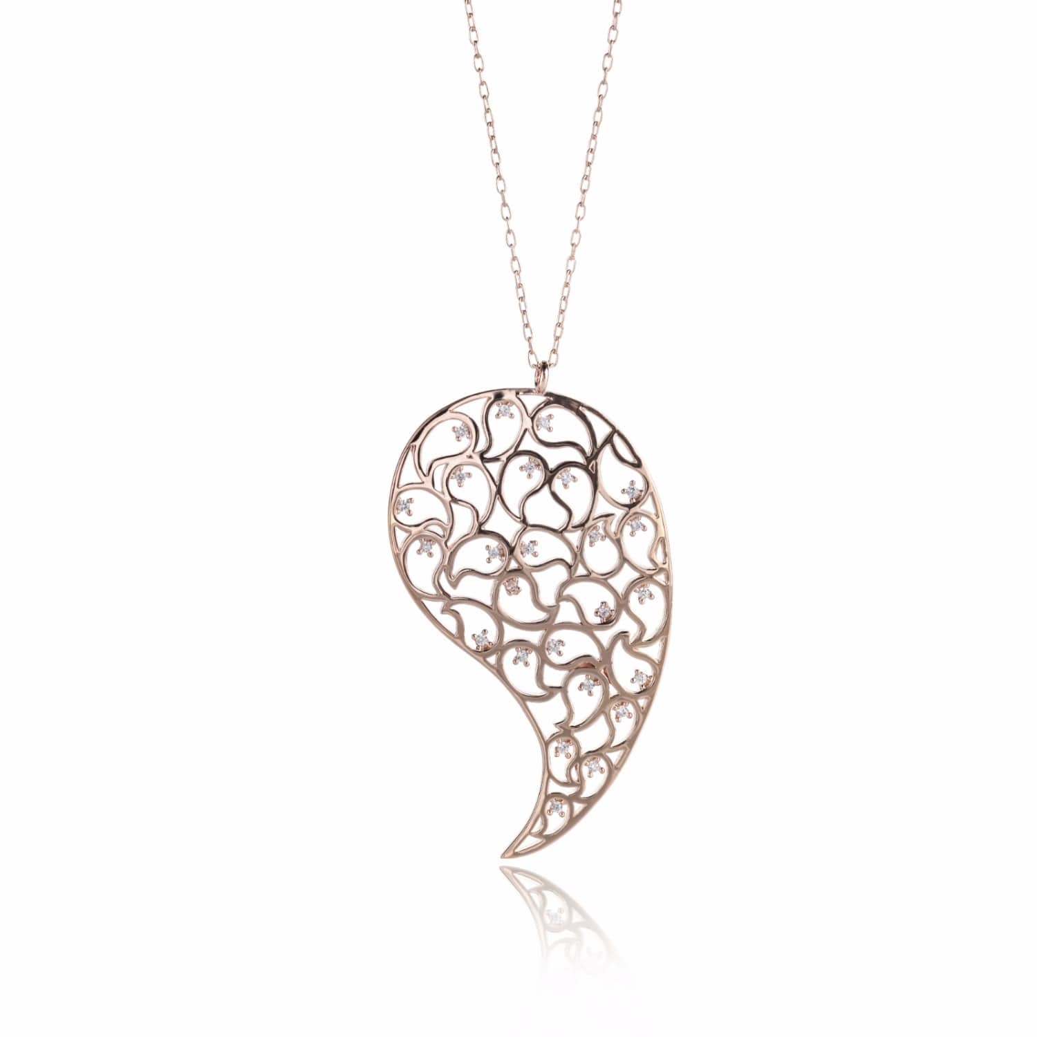 Sonal Bhaskaran Jaali Rose Gold Pendant with Clear Cubic Zirconia aoyKnh