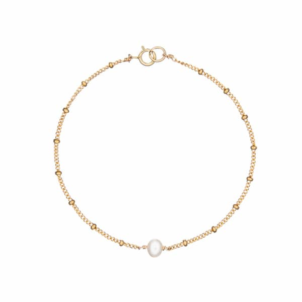 LILY & ROO Gold Pearl Bracelet On Satellite Chain