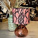 Lace Ring Coral Pink Velvet Lampshade 25X21Cm image