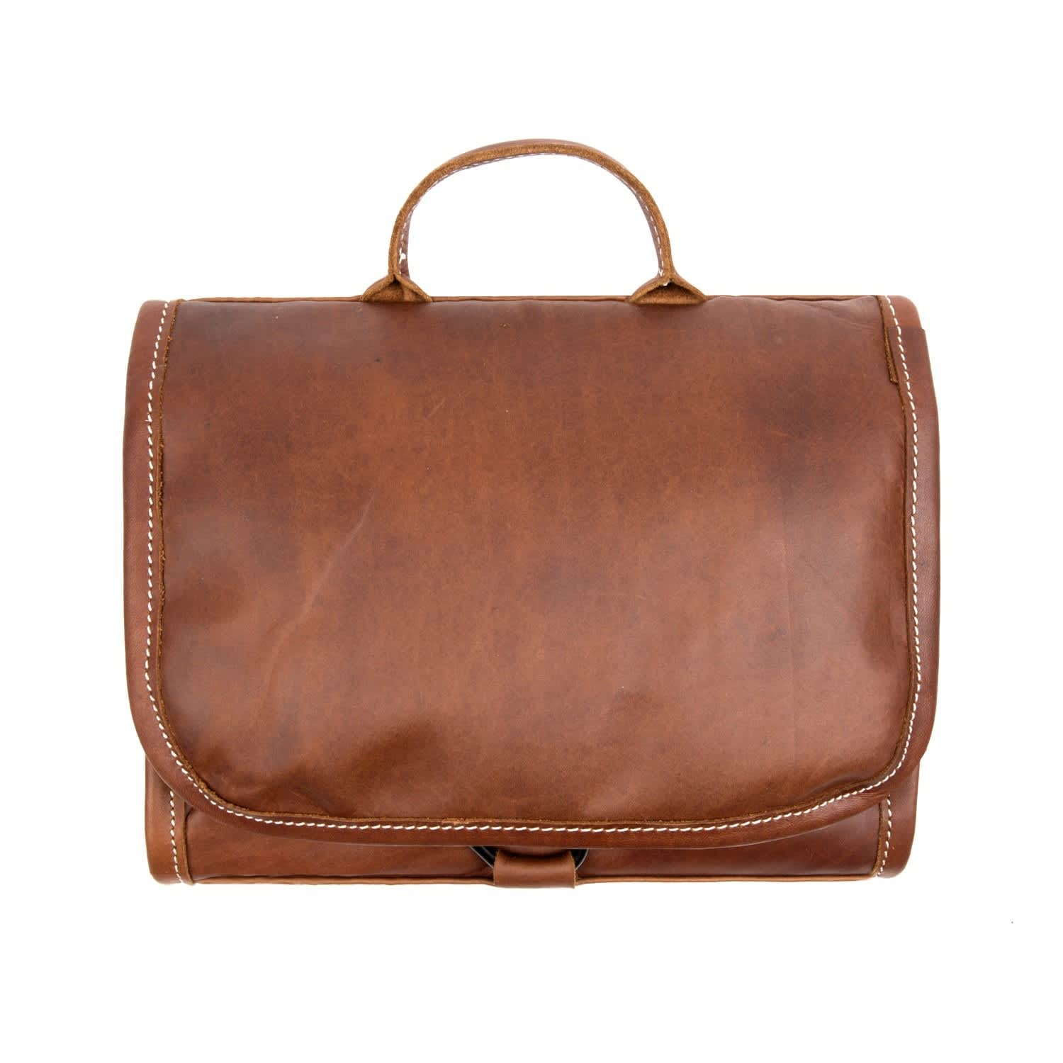 2a287c319d Leather Hanging Wash Toiletry Bag Dopp Kit In Vintage Brown With Hook