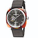 Briston Clubmaster Open Automatic 3 Hand Tortoise Shell, Silver Grey Dial image