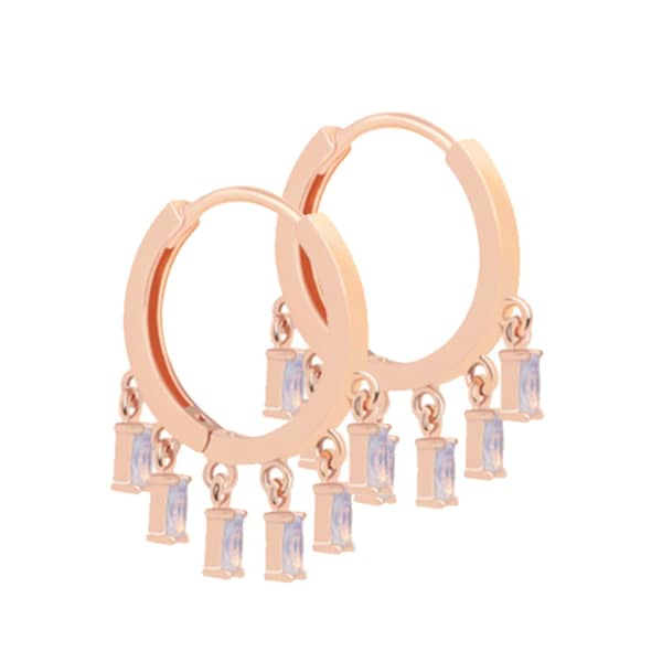 Mystic Opal Charm Hoops In Rose Gold