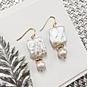 Rectangular & Round Freshwater Pearls Drop Earrings image