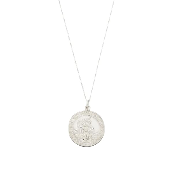 LILY & ROO Sterling Silver Large St Christopher Medallion Necklace
