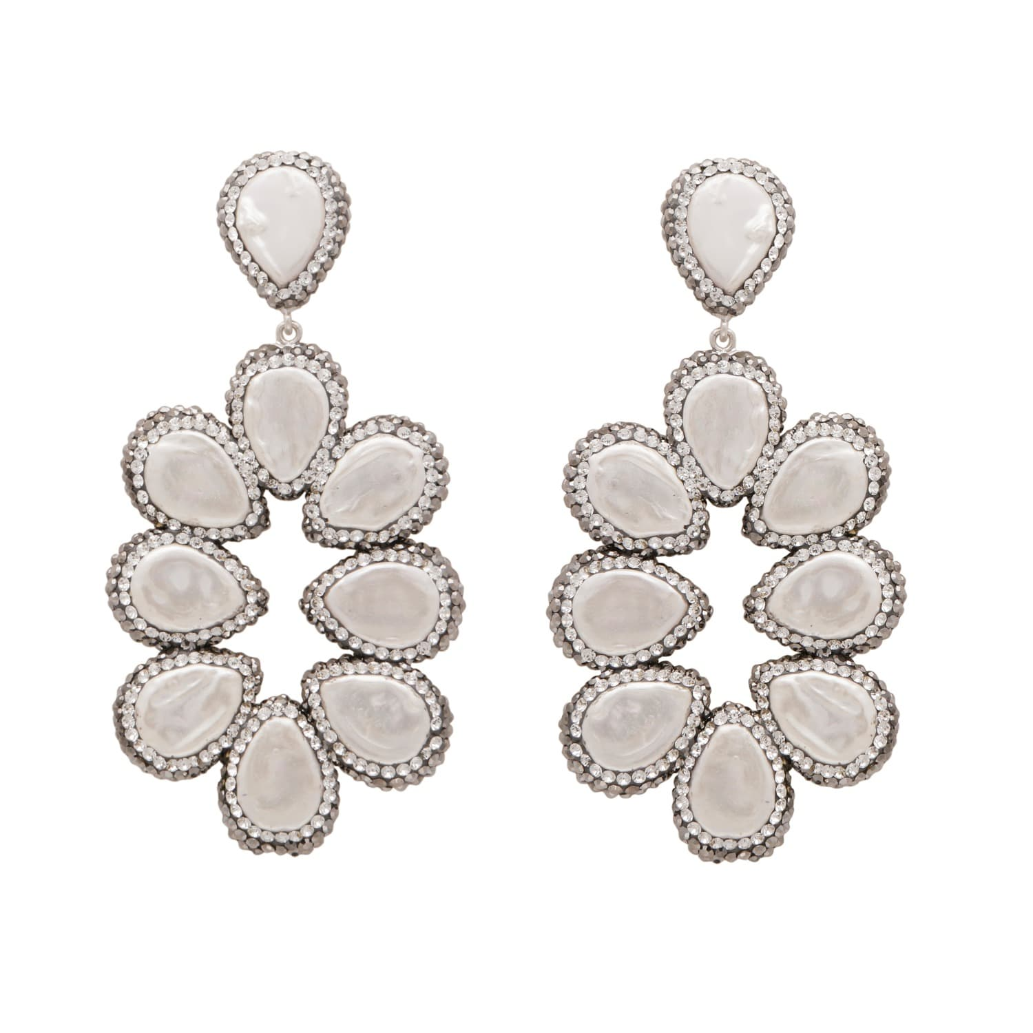 Mother of Pearl and Silver Statement Earrings by Carousel Jewels