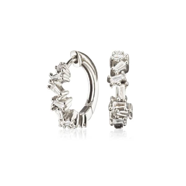 LILY & ROO Small Silver Jagged Diamond Style Huggie Hoop Earrings