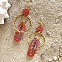 Solar Statement Earrings in Orange Purple Mix & Gold image