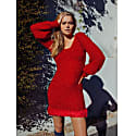 Red Glitter Handmade Knit Dress image