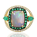 18Kt Yellow Gold Pave Diamond Natural Emerald Opal Ethiopian Ring image