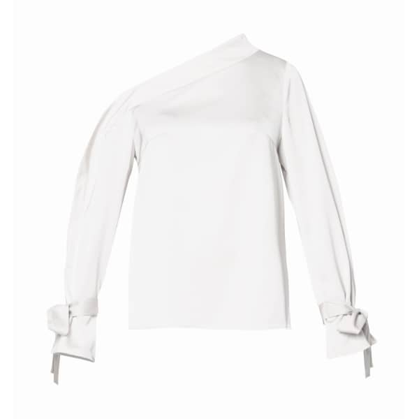 PAISIE One Shoulder Blouse With Tie Sleeve Details In White